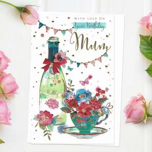 ' With Love On Your Birthday Mum' Card Featuring Bubbly And Cup Of Flowers! Enhanced With Gold Foil Detail And Completed with White Envelope