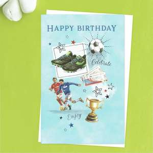 Football Themed Birthday Card Front Image