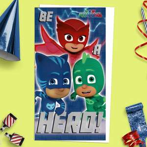 Be A Hero PJ Masks Birthday Card With Join The Dots Picture Front Image