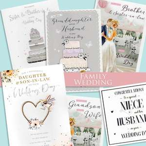 A Selection Of Cards To Show The Depth Of Range In Our Wedding Family Section