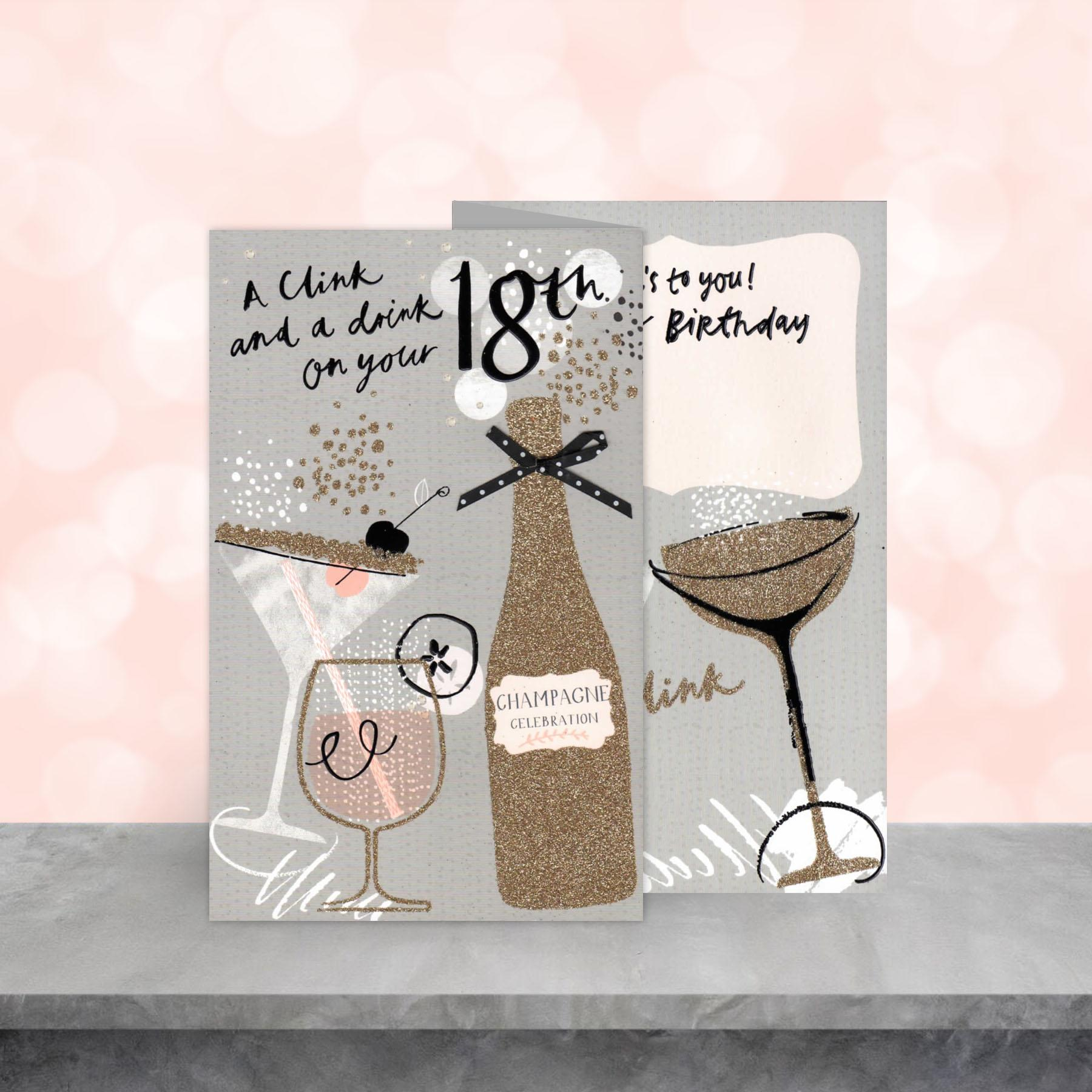 Image Of 3 Fold Age 18 Birthday Card