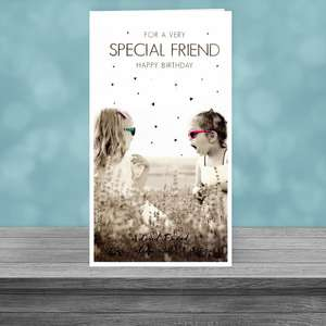 2 Little Girls Friend Card Sitting On The Shelf