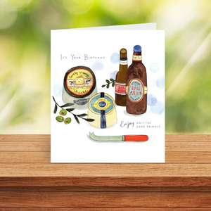 Beer And Cheese Birthday Card On A Shelf