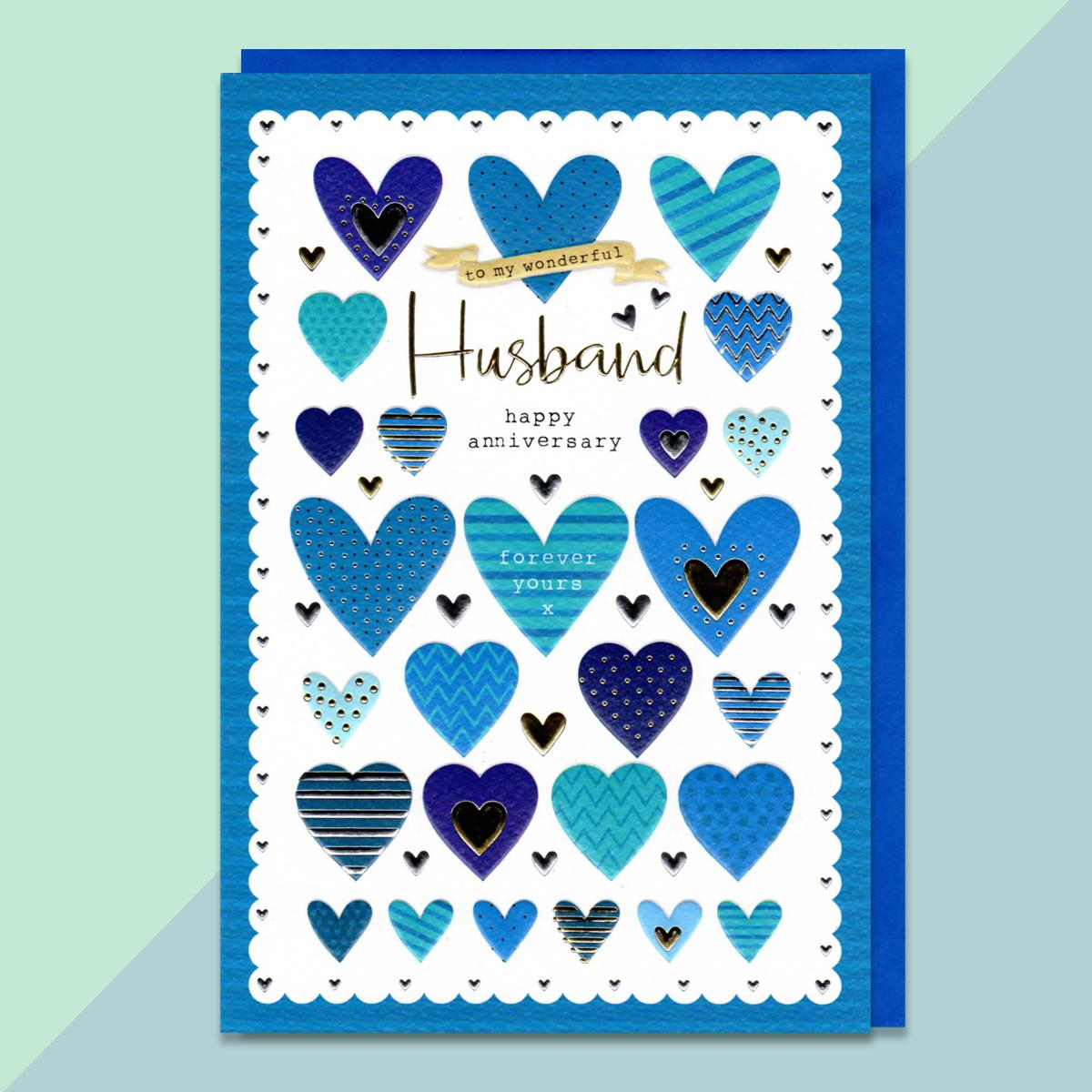 Blue Hearts Husband Anniversary Card With Blue Envelope