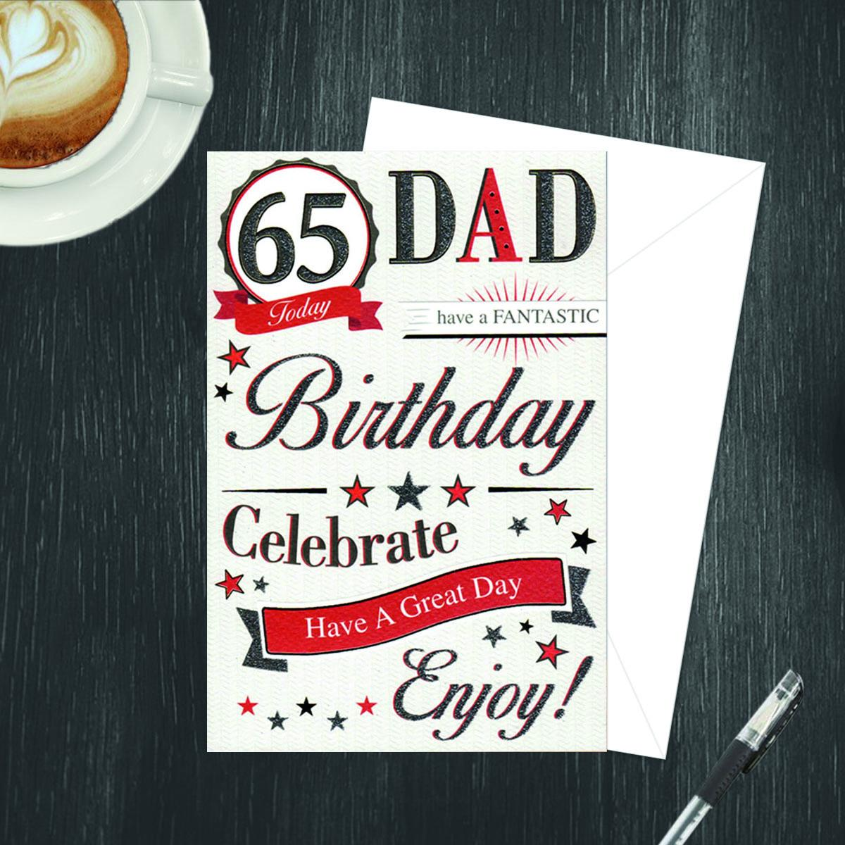 Inside Of Dad 65th Card Showing Printed Text