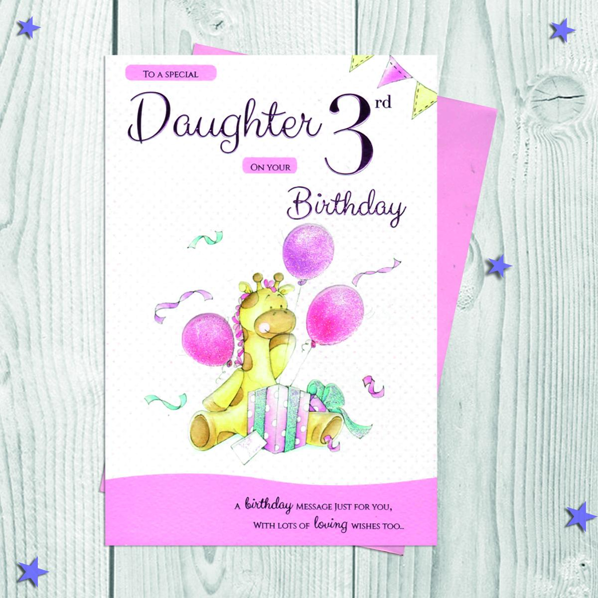 Daughter Age 3 Birthday Card Alongside Its Envelope