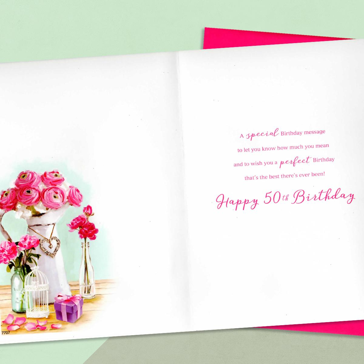 Daughter Age 50 Birthday Card Alongside Its Magenta Envelope