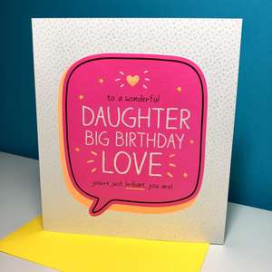 Daughter Square Card Sat On The Display Shelf