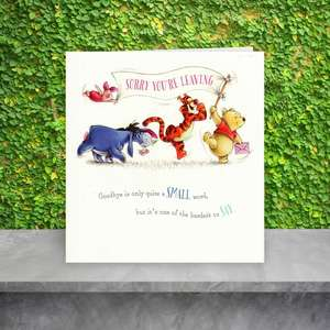 Winnie The Pooh Sorry You're Leaving Card Sitting On A Shelf