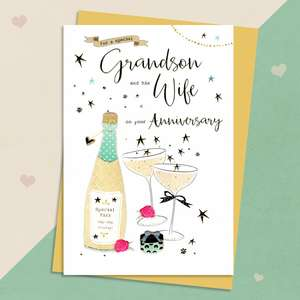 Grandson Anniversary Card Sitting On A Wooden Shelf