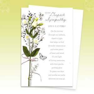 Life Is A Journey Poem Sympathy Card Alongside Its Envelope