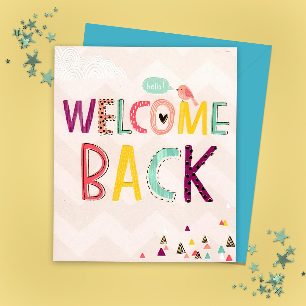 Welcome Back Greeting Card Alongside Its Envelope