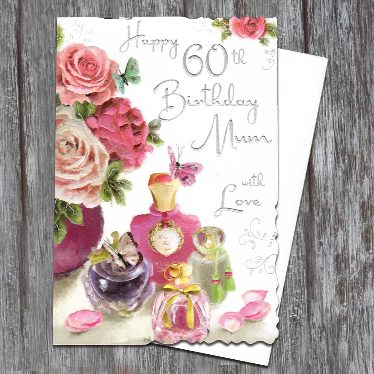Mum Age 60 Birthday Card Alongside Its White Envelope