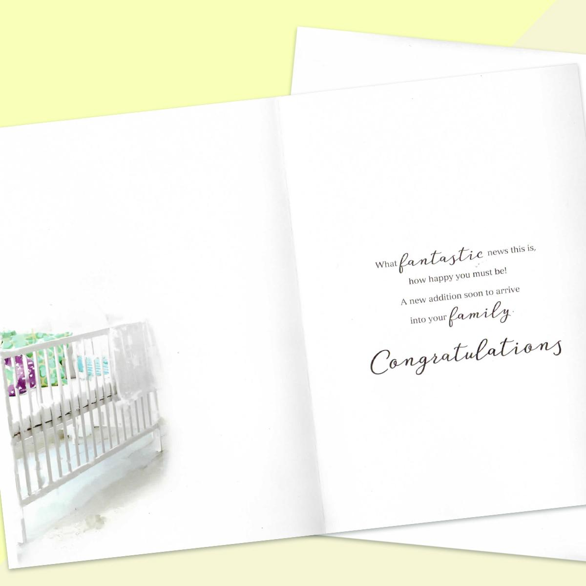 Inside Image Of Parents To Be Card Showing Layout And Printed Text