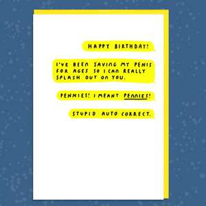 Bloody Auto Correct Texts Funny Birthday Card
