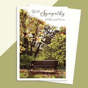 Autumn Park Sympathy Card Sat On A Display Shelf