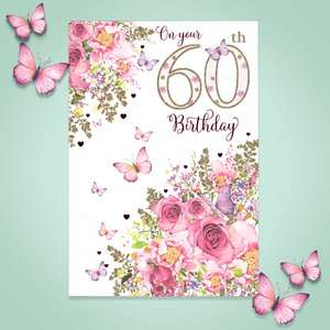 Age 60 Butterflies Birthday Card Full Image