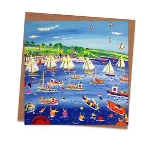 Racing On The River Blank Greeting Card Alongside Its Envelope