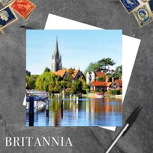 River Thames, Marlow Blank Greeting Card And Envelope