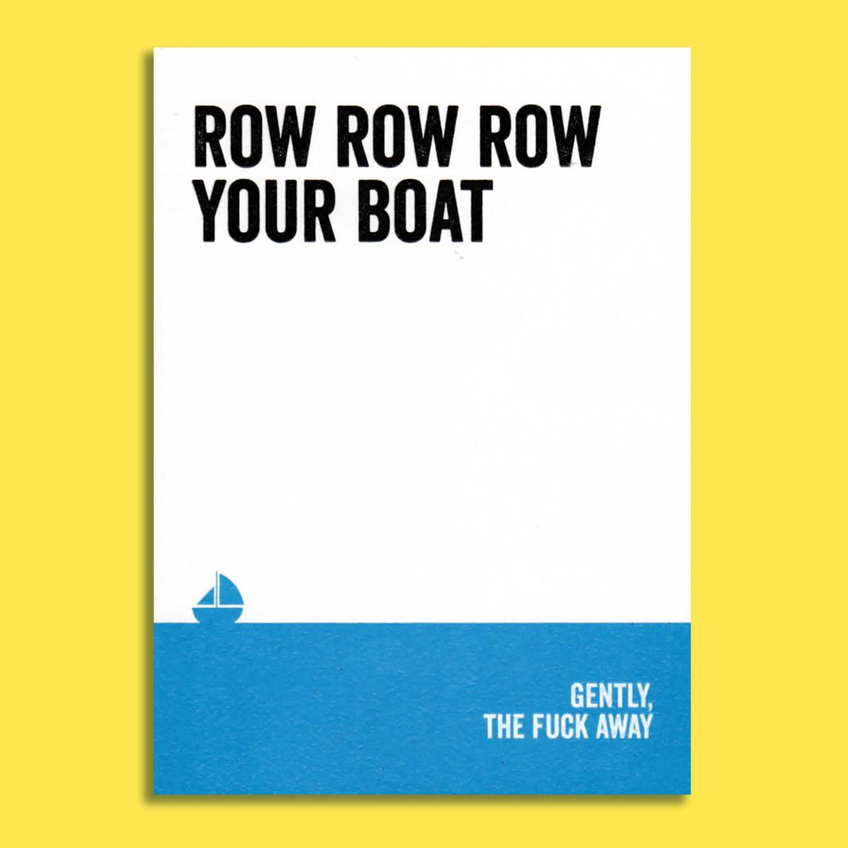 Row Your Boat Rude Funny Birthday Card