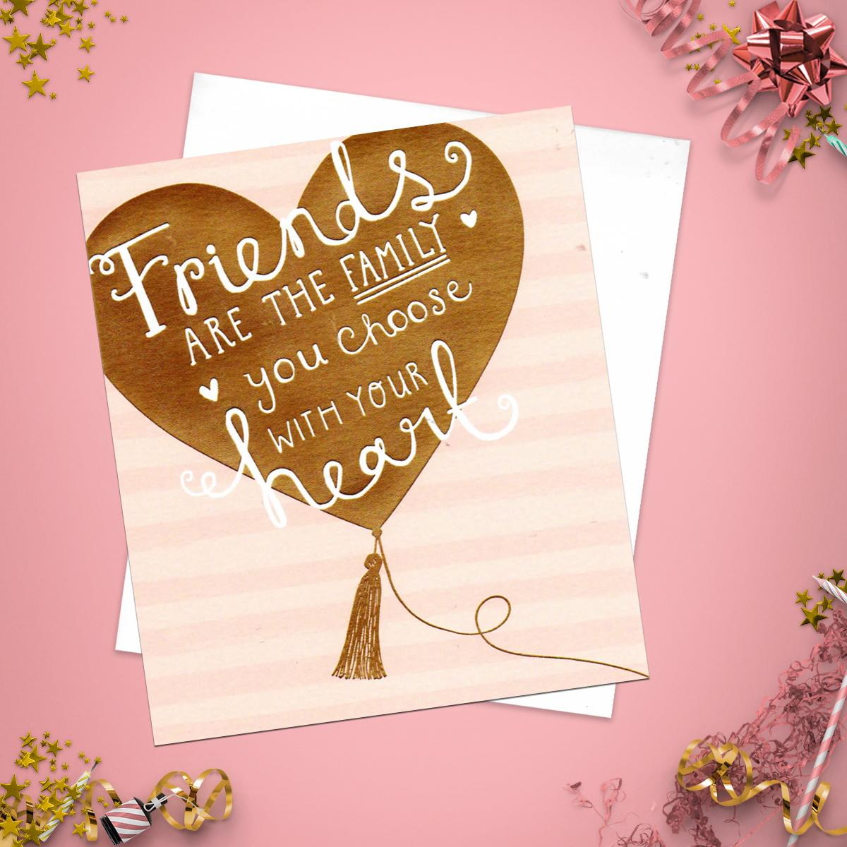 Gold Heart Friend Birthday Card Alongside Its Envelope