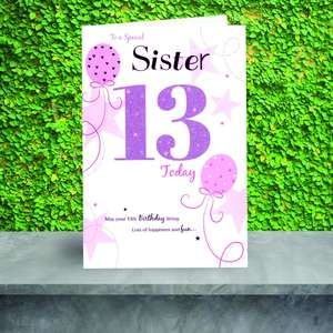 Sister Age 13 Birthday Card On A Display Shelf