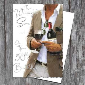 Son Age 50 Birthday Card Alongside Its White Envelope