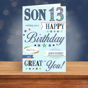 Son Age 13 Birthday Card Sitting On A Display Shelf