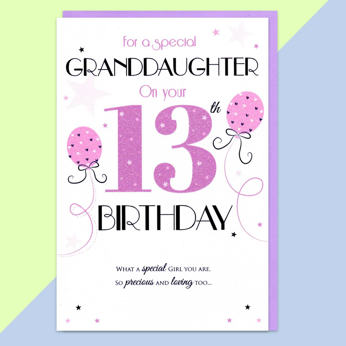 Granddaughter Age 13 Birthday Card Sitting On A Display Shelf