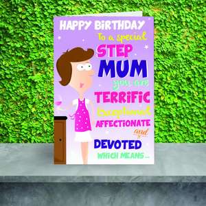 Special Stepmum Birthday Card Sitting On A Display Shelf