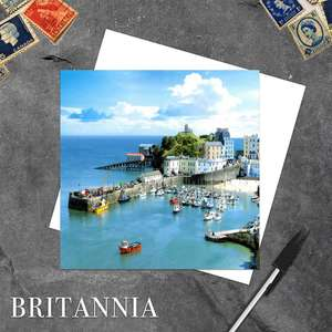 Tenby Harbour, Pembrokeshire Blank Greeting Card With White Envelope