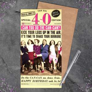 Age 40 Female Funny Birthday Card Sitting On A Display Shelf