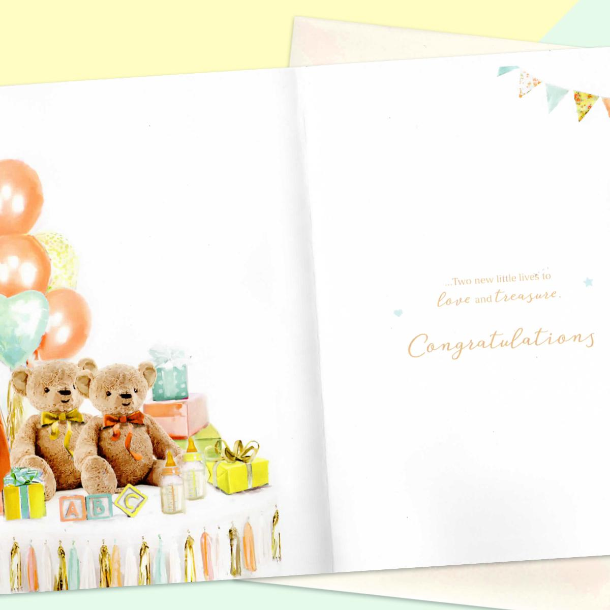 Inside Of Birth Of Twins Card Showing Layout And Printed Text