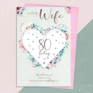 Wife Age 80 Birthday Card Alongside Its Pink Envelope