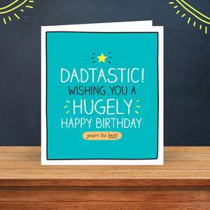 Dadtastic Birthday Card Sitting On A Display Shelf