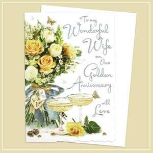Wife Golden Anniversary Card Alongside Its White Envelope
