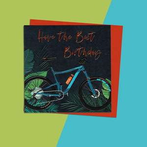 Cycling Themed Birthday Card Alongside Its Orange Envelope