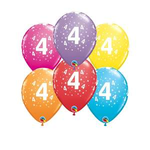 Image Of 6 Inflated Age 4 Latex Balloons