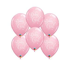 Image Of 6 Inflated Baby Girl Latex Balloons