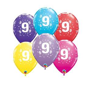 Image Of 6 Inflated Age 9 Multicoloured Latex Balloons