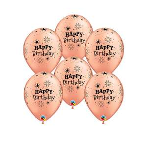 Image Of 6 Rose Gold Happy Birthday Latex Balloons