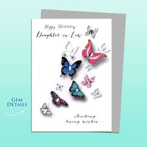 Daughter In Law Butterflies Birthday Card Alongside Its Silver Envelope