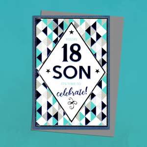 Son Age 18 Birthday Card Alongside Its Silver Envelope