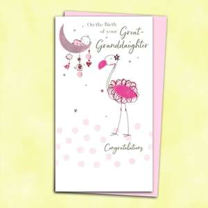 Baby Great Granddaughter Birth Card Alongside Its Pink Envelope