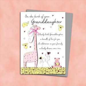 Birth Of Granddaughter Pink Giraffe Design Alongside Its Silver Envelope
