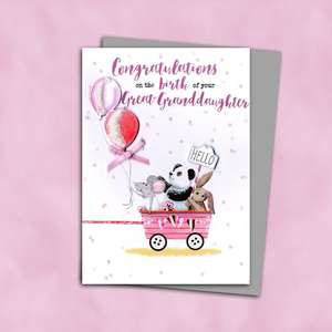 Birth Of Great Granddaughter Baby Card Alongside Its Silver Envelope