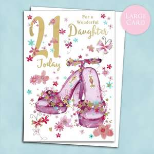 Daughter Age 21 Large Birthday Card Alongside Its White Envelope
