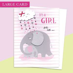 Baby Girl Large Card Alongside Its White Envelope