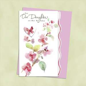 Our Daughter Birthday Card Alongside Its Light Pink Envelope