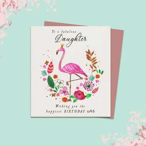 Daughter Flamingo Themed Birthday Card Alongside Its Rose Gold Envelope